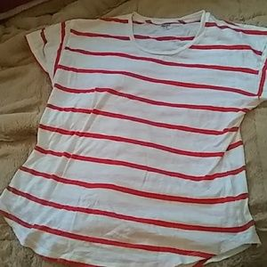 Madewell Crewneck Orange Striped Perfect Tee